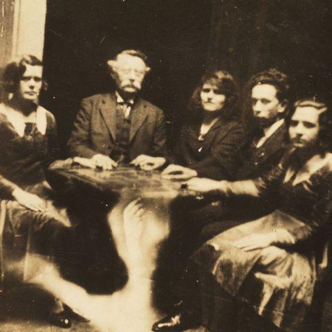 creepy vintage photo   seance