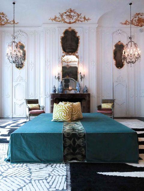 Bedroom, Furniture, Bed, Decoration, Room, Interior design, Bed frame, Property, Bed sheet, Turquoise,