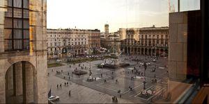 Piazza Duomo Milan Italy Window Reflection Arengario Museum