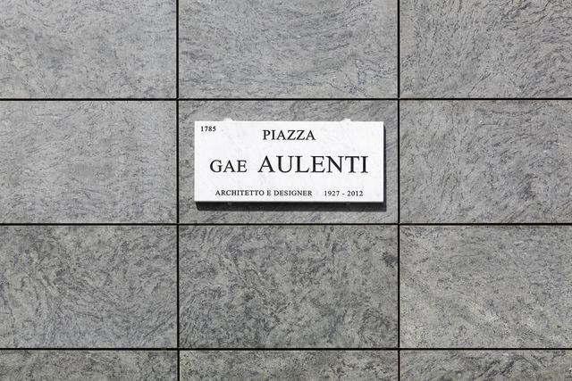 piazza gae aulenti sign in milan, italy