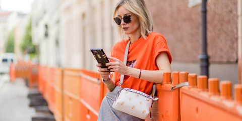 Orange, Street fashion, Clothing, Fashion, Jeans, Shirt, Textile, Denim, Sunglasses, Peach,