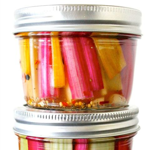Spicy Pickled Swiss Chard Stems
