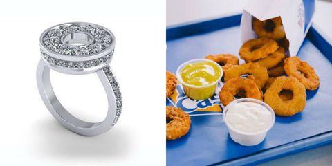 Food, Fried food, Onion ring, Ring, Cuisine, Dish, Side dish, Snack, Engagement ring, Ingredient,