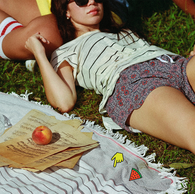 girls on a picnic blanket
