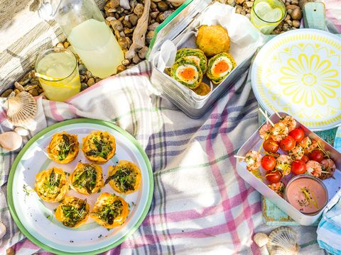 picnic foods spread out on the beach