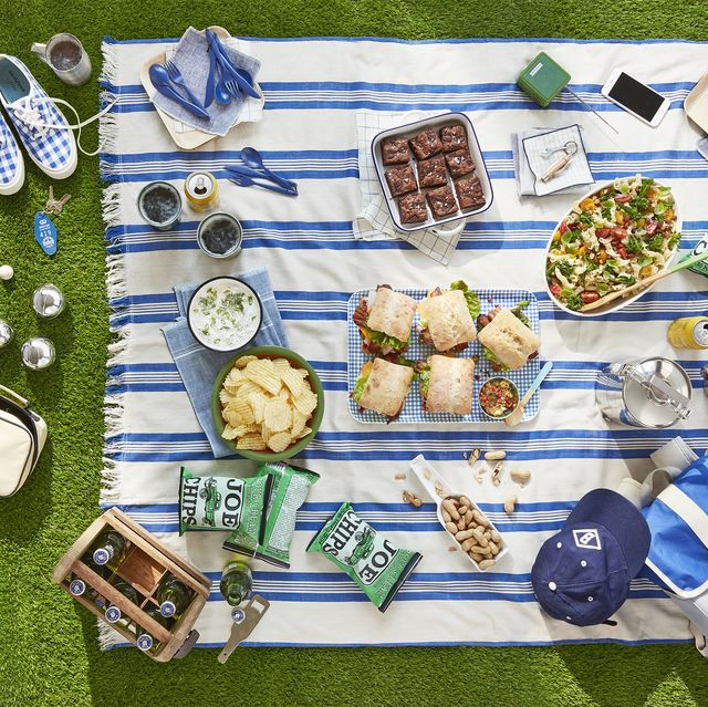 picnic scene with food, shoes, games