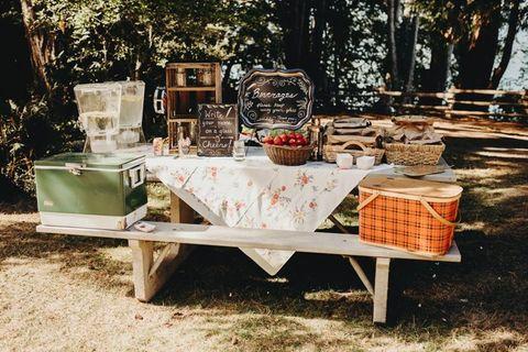 picnic table camping wedding idea