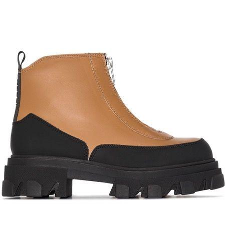farfetch ganni brown walking books chunky sole tread