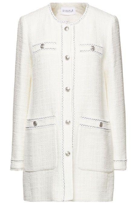the outnet claudie pierlot cream tweed jacket