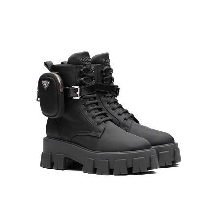 prada black nylon walking boots chunky sole tread