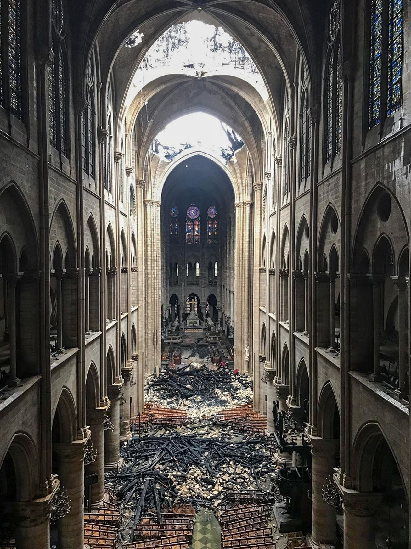 TOPSHOT-FRANCE-FIRE-NOTRE DAME cathedral fire damage day after