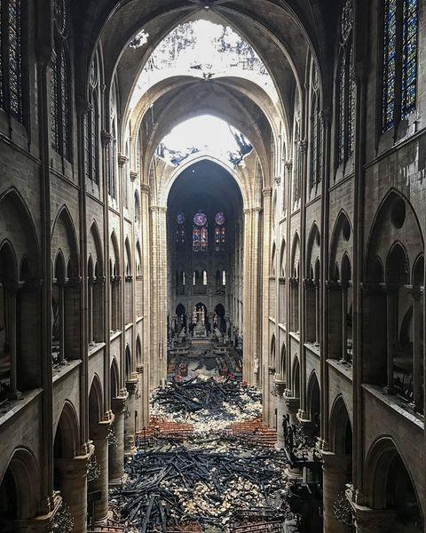 TOPSHOT-FRANCE-FIRE-NOTRE DAME fire damage debris ruin cathedral