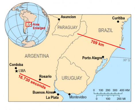 a map showing where the lightning strikes in Brazil and Argentina occurred