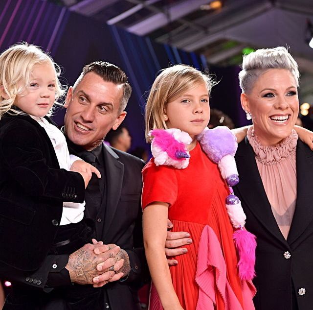pink, husband carey hart, and two children jameson and willow