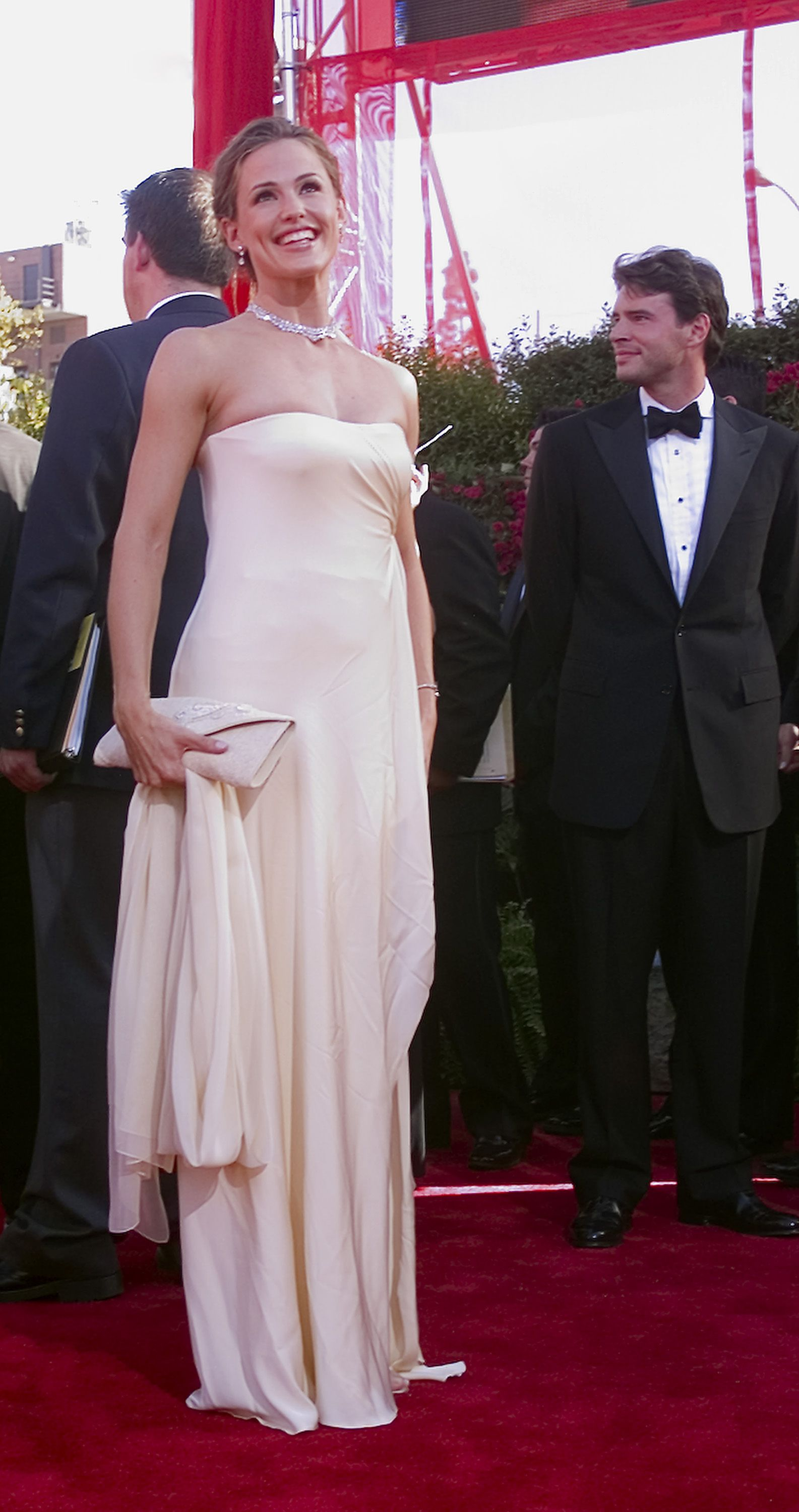 September 22, 2002 In a simple cream-colored strapless gown at the 54th annual Emmy awards.