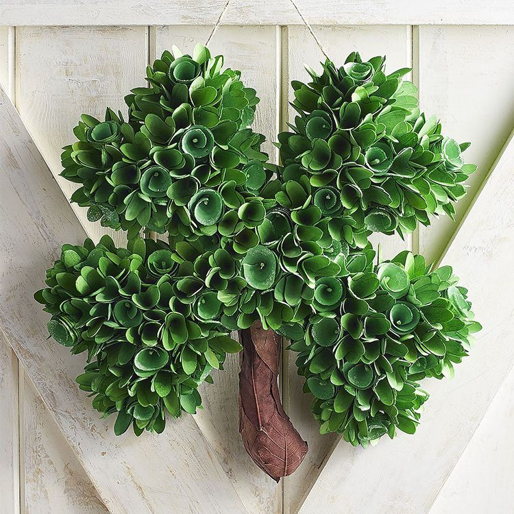 Pier 1 Imports Wood Curl Four Leaf Clover Wreath