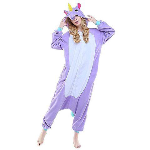 Clothing, Purple, Violet, Unicorn, Lavender, Costume, Pajamas, Fictional character, Sleeve, Nightwear,