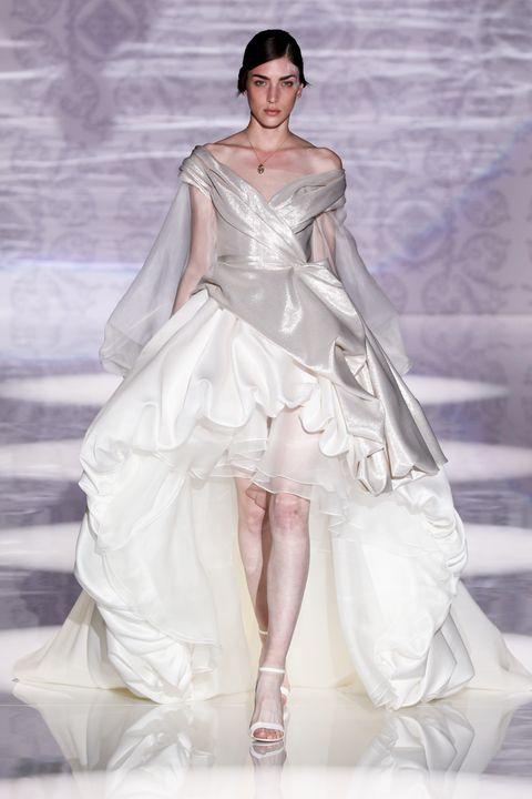 Fashion model, Fashion, Clothing, Dress, Haute couture, Gown, Shoulder, Fashion show, Wedding dress, Bridal party dress,