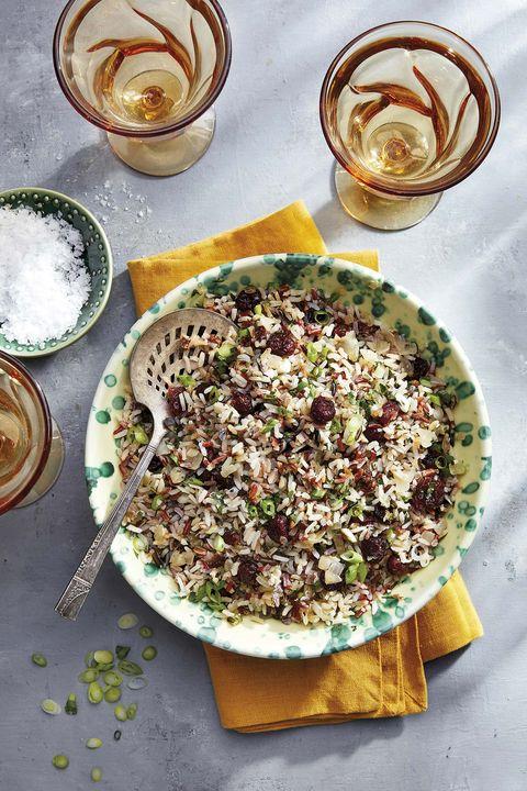 pilaf de arroz salvaje  con manzana y arándanos