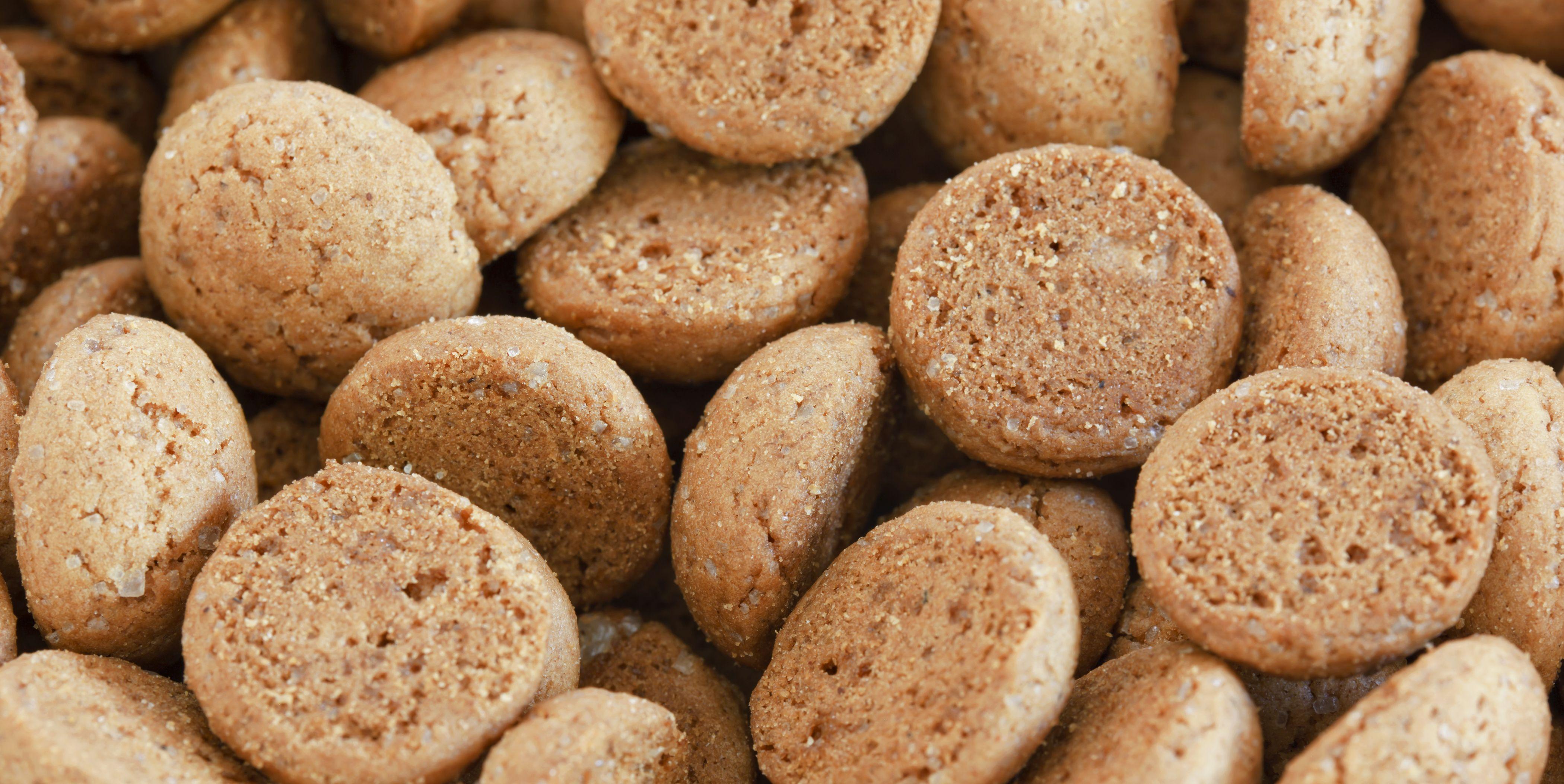 Pile of pepernoten candy, traditional Dutch treat around 'Sinterklaas'