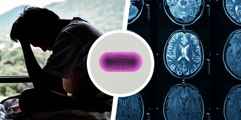 depressed man and brain scan with pill in the middle