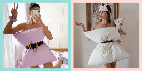 two women with pillows belted to them as if they were dresses
