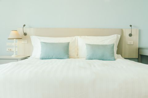 pillows on bed in bedroom