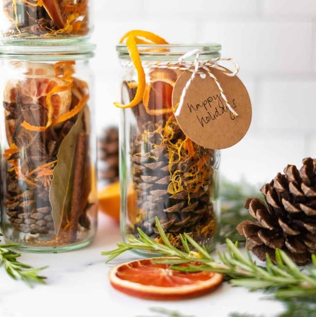 pine cone potpourri jars