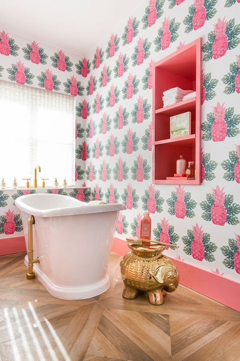 Pink, Room, Floor, Interior design, Bathroom, Wall, Red, Property, Wallpaper, Tile,