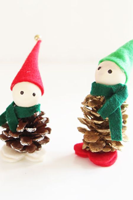 diy pinecone elves christmas craft