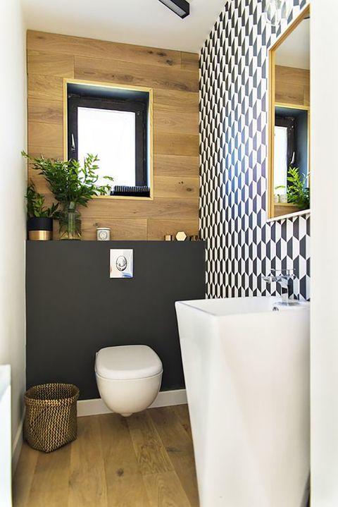 Geométricos en decoración. En el baño