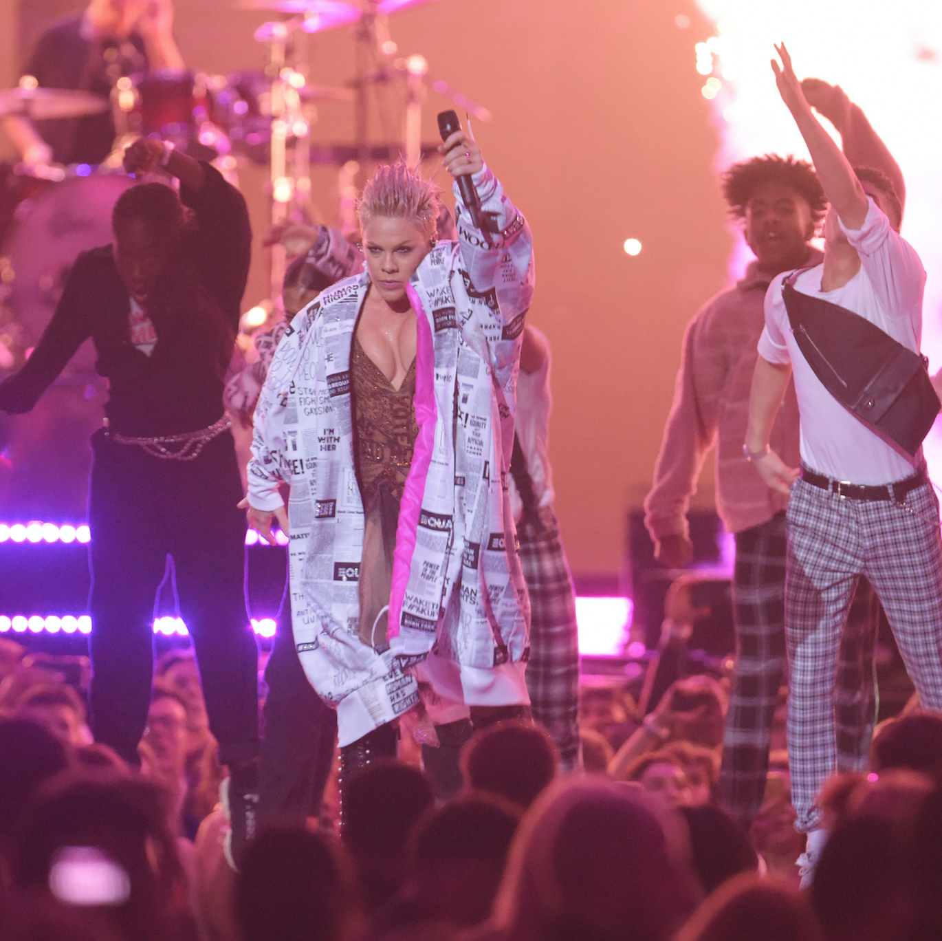 Pink's (literally) explosive Brit Awards performance made viewers fear for her safety