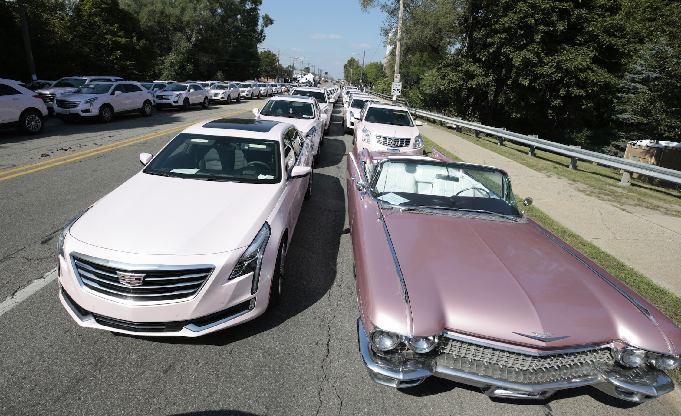 A Sea Of Pink Cadillacs Gathered For Aretha Franklin S Funeral In Detroit