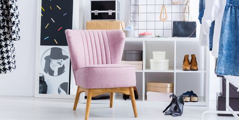 Pink Chair In Bright Closet
