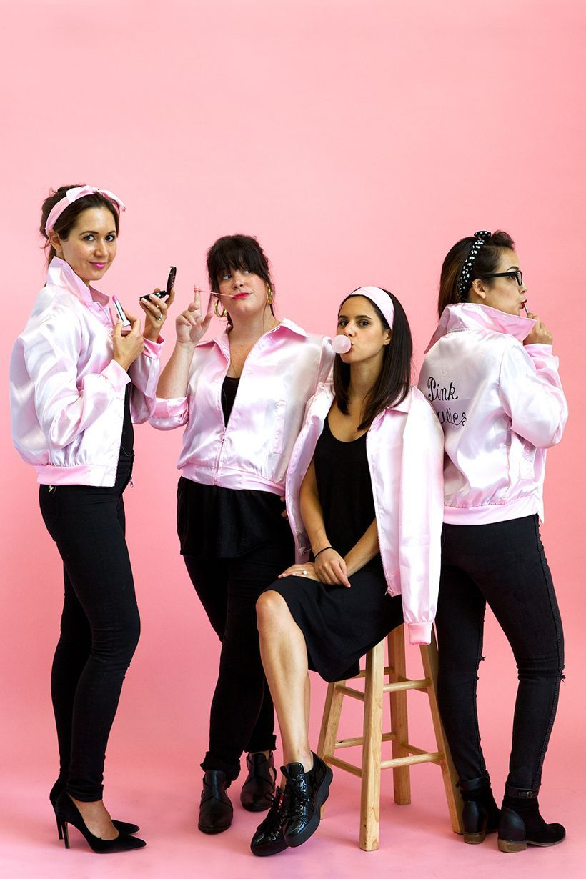pink ladies grease costumes ...  sc 1 st  Country Living Magazine & DIY Grease Halloween Costumes for Groups - Sandy Danny Pink Ladies ...