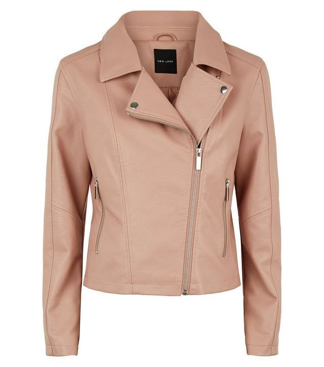 New Look Pink Leather Look Jacket