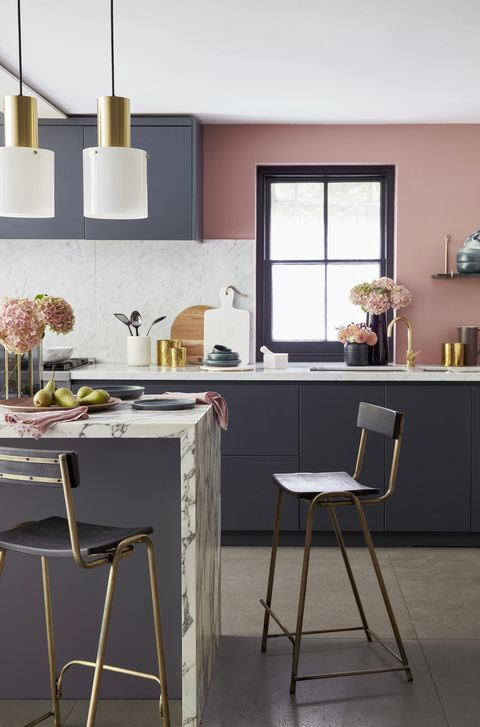 touches of gold, marble and wood with accents of plum and mulberrypale pink combines beautifully with marble worktops and deep grey units to create a kitchen that looks sleek and smartwall painted in blush, £435025l, little greene lights, £319 each, original btc stools, £95 each, rockett st george on island vase, £18, debenhams platter, £20, habitat napkins, £25, design vintage bowl, £10 plate, £10 both habitat on worktop bowl, £20, habitat utensil pot, £35, john lewis brass pots, £16 for two wood board, £35 round marble board, £50 all debenhams blue bowls, from £6 each, habitat paddle board, £3840, rockett st george pestle and mortar, £48, graham  green black vase, £18, debenhams tall vase, £6990, villeroy  boch
