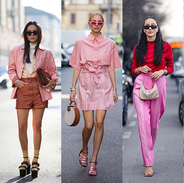 2020秋冬コレクション、ストリートスタイル、ピンクコーデ、ピンク