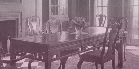 Furniture, Room, Dining room, Table, Kitchen & dining room table, Interior design, Classic, Black-and-white, House, Chair,