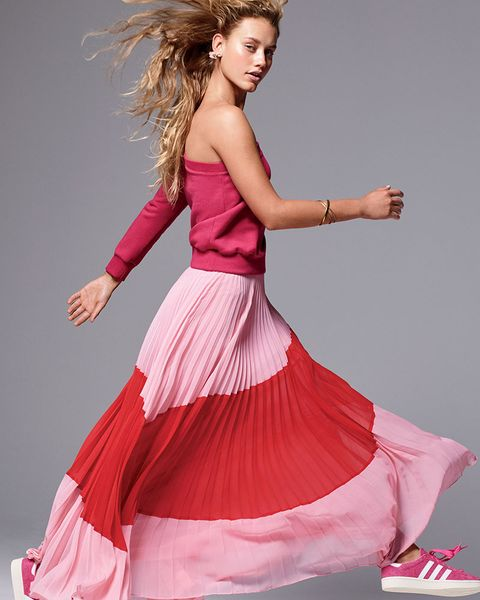 Pink tiered maxi skirt