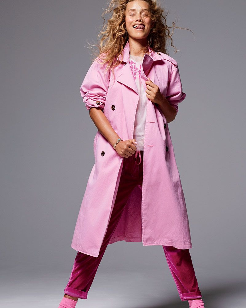 Pink trenchcoat and pink velvet pants