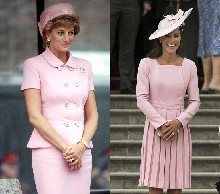 Princess Diana in a classic short sleeve pink Versace suit and pillbox hat in 1995; the Duchess of Cambridge in a soft pink Emilia Wickstead coat dress for a 2012 garden party at Buckingham Palace.
