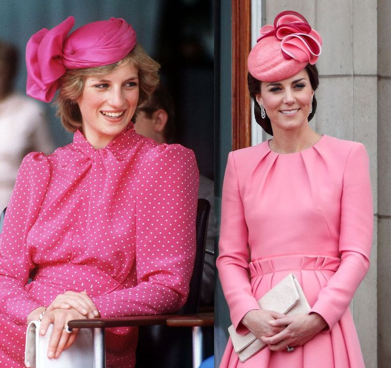 Diana in a Pepto-pink polka dotted dress in Perth in 1983, and Kate in a similarly hued Alexander McQueen dress coat at Trooping the Color in 2017.