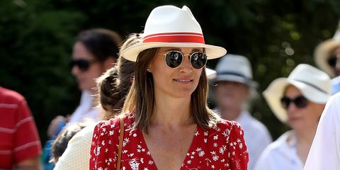 56e3377c052 Pregnant Pippa Middleton Wears Red Ralph Lauren Wrap Dress - Married James  Matthews Baby