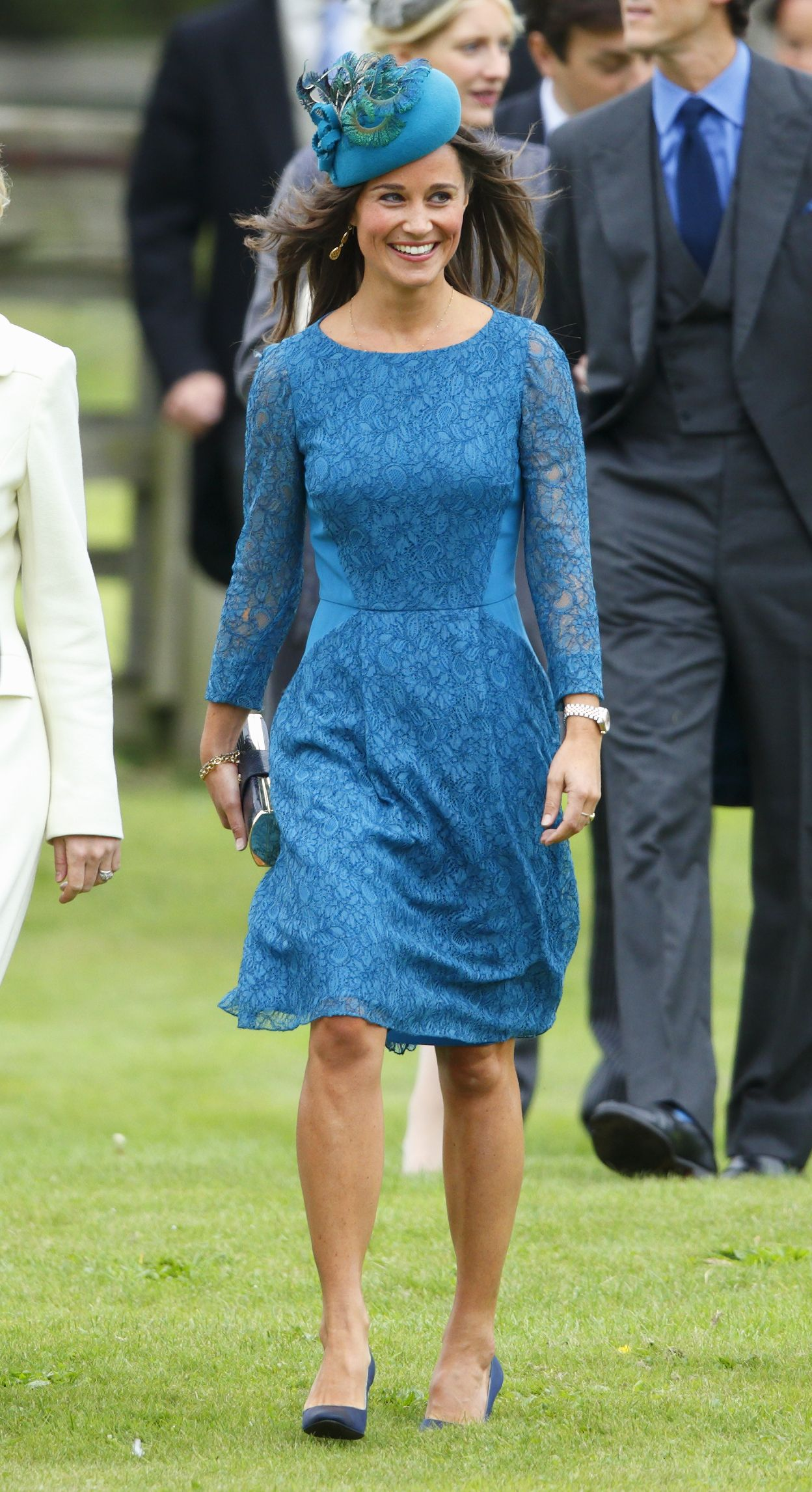 Pippa Middleton arrives at the Royal Wedding wearing a heavenly baby blue dress