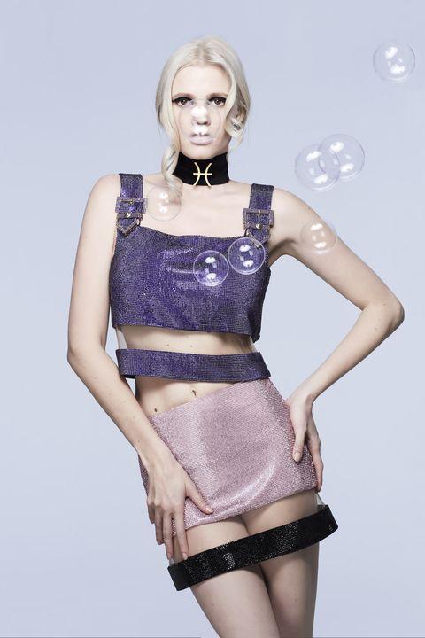 Fashion model, Clothing, Fashion, Beauty, Skin, Shoulder, Dress, Blond, Model, Waist,