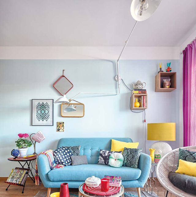 Living room, Room, Furniture, Interior design, Blue, Turquoise, Yellow, Property, Table, Coffee table,