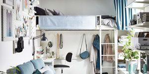 Habitación en piso compartido con muebles multifuncionales