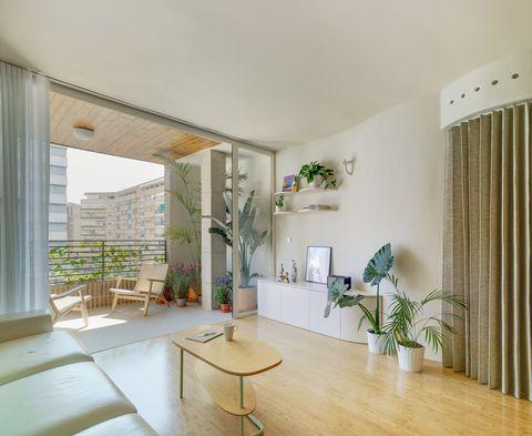 salón moderno y minimalista decorado con plantas y abierto a la terraza