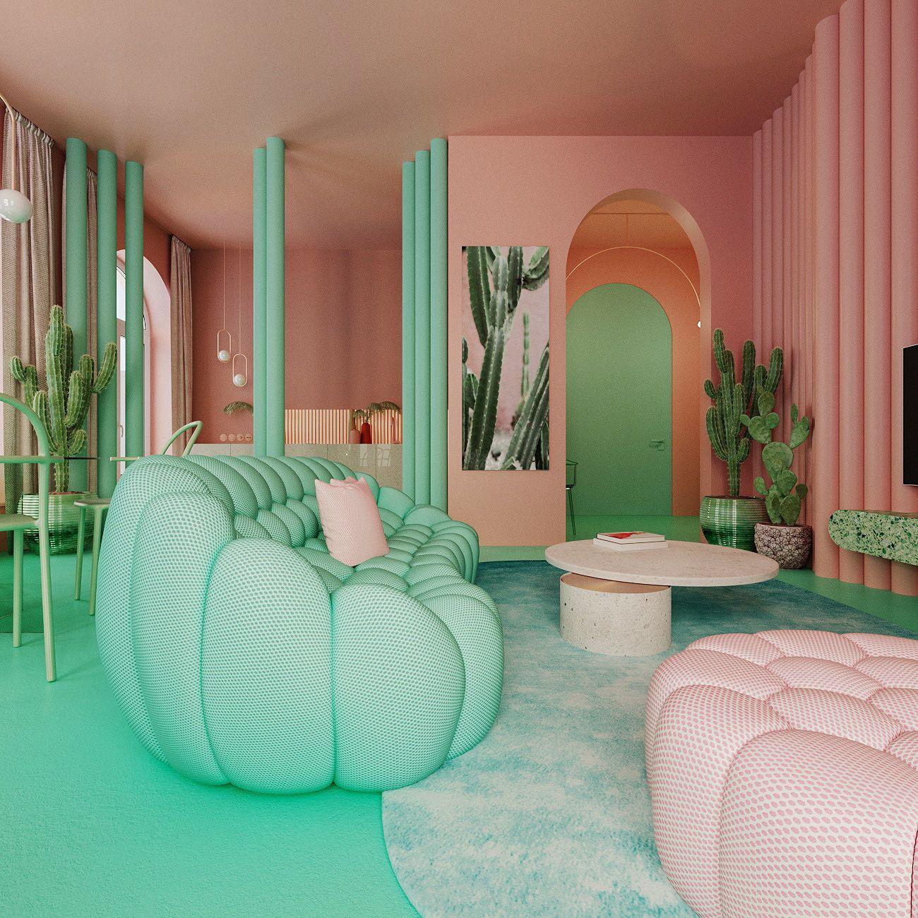 Un apartamento rosa y turquesa Decoración con efecto